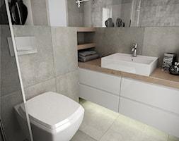 Projekt kawalerki 35m2 w Olsztynie. - Mała szara łazienka, styl minimalistyczny - zdjęcie od Wnętrzowe Love