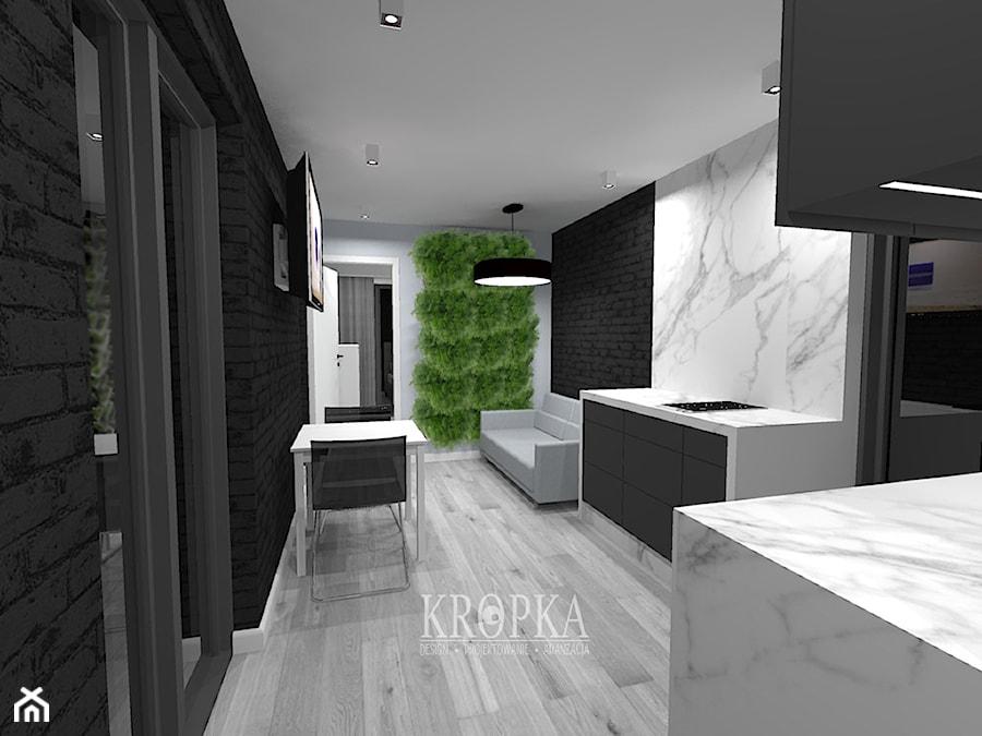 W Ultra Domek letniskowy 35m2 - Mały biały czarny salon z kuchnią z DF15