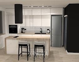 Dom 118m2 Iwiny- kuchnia - Średnia otwarta biała kuchnia dwurzędowa w aneksie z wyspą z oknem, styl nowoczesny - zdjęcie od KROPKA Design