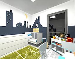 Pokoik dziecięcy dla chłopców bliźniaków 9,91m2 Opole - Średni biały czarny pokój dziecka dla chłopca dla dziewczynki dla ucznia dla niemowlaka dla malucha, styl nowoczesny - zdjęcie od KROPKA Design