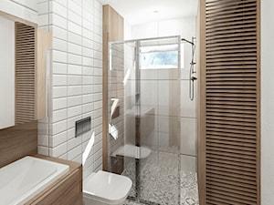 Łazienka w domu jednorodzinnym - Średnia biała łazienka w domu jednorodzinnym z oknem, styl rustykalny - zdjęcie od Granat Studio