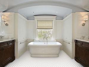 Jasna łazienka - Średnia beżowa szara łazienka na poddaszu w domu jednorodzinnym z oknem, styl klasyczny - zdjęcie od Raw Decor
