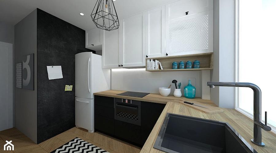 Mała kuchnia - Średnia otwarta kuchnia w kształcie litery l z oknem, styl skandynawski - zdjęcie ...