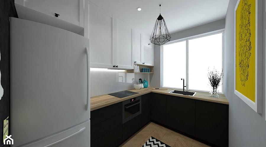 Mała kuchnia - Mała otwarta zamknięta kuchnia w kształcie litery l z oknem, styl skandynawski ...