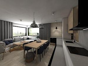 MECHELINKI ANCHORIA - Średnia otwarta biała jadalnia w kuchni w salonie - zdjęcie od MOCHO. studio Monika Machowska