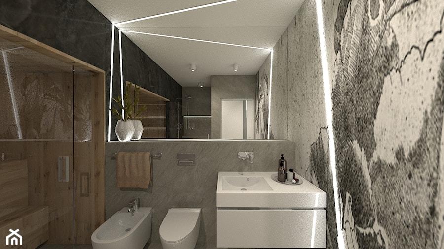 ANCHORIA MECHELINKI REGATOWA - Średnia czarna szara łazienka w bloku w domu jednorodzinnym bez okna, styl nowoczesny - zdjęcie od MOCHO. studio Monika Machowska