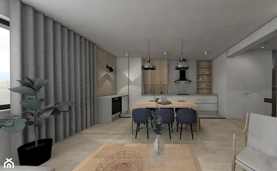 MECHELINKI ANCHORIA - Duża otwarta szara kuchnia w kształcie litery l w aneksie, styl nowoczesny - zdjęcie od MOCHO. studio Monika Machowska