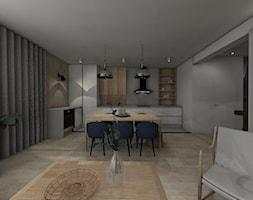 MECHELINKI ANCHORIA - Mały szary salon z kuchnią z jadalnią, styl minimalistyczny - zdjęcie od MOCHO. studio Monika Machowska - Homebook