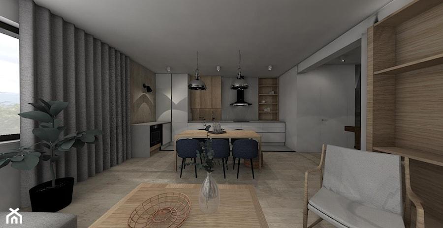 MECHELINKI ANCHORIA - Mały szary salon z kuchnią z jadalnią, styl minimalistyczny - zdjęcie od MOCHO. studio Monika Machowska