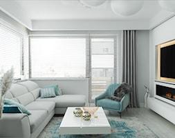 ANCHORIA MECHELINKI MODERN - Średni szary biały salon z tarasem / balkonem, styl nowoczesny - zdjęcie od MOCHO. studio Monika Machowska - Homebook