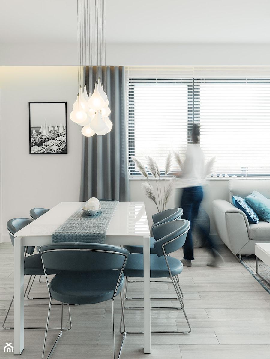 ANCHORIA MECHELINKI MODERN - Średni biały salon z jadalnią, styl nowoczesny - zdjęcie od MOCHO. studio Monika Machowska