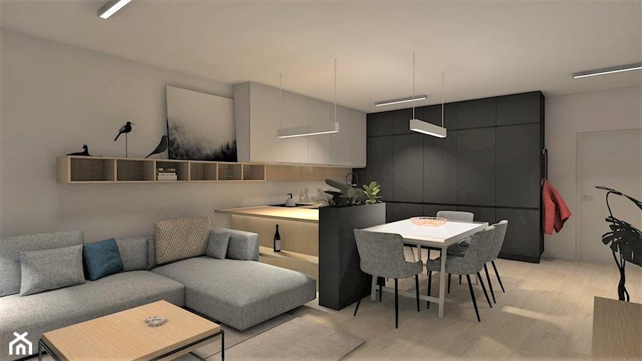 kuchnia KATOWICE - Średnia otwarta szara kuchnia w kształcie litery u, styl nowoczesny - zdjęcie od MOCHO. studio Monika Machowska