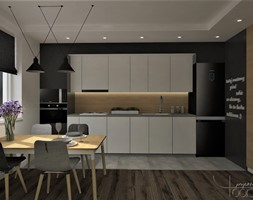 A może morze? - Średnia otwarta szara czarna kuchnia jednorzędowa z oknem, styl nowoczesny - zdjęcie od YOOKU PROJEKTANCI