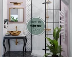 Łazienka numer 1 - Średnia biała różowa łazienka z oknem - zdjęcie od YOOKU PROJEKTANCI