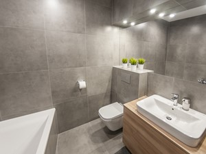 M6 - Średnia szara łazienka, styl nowoczesny - zdjęcie od TB