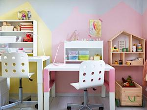 Pokój dziecka IKEA - Mały szary żółty różowy pokój dziecka dla chłopca dla dziewczynki dla rodzeństwa dla ucznia dla malucha dla nastolatka - zdjęcie od IKEA