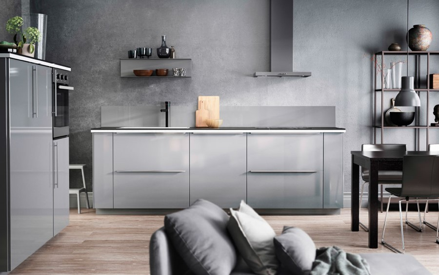 Kuchnia Ikea Mała Otwarta Szara Kuchnia W Kształcie Litery