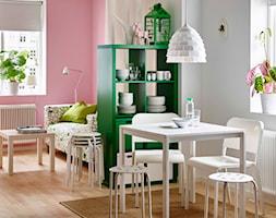 Jadalnia IKEA - Średnia otwarta biała różowa jadalnia w salonie - zdjęcie od IKEA