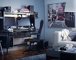 Domowe biuro IKEA - Duże niebieskie biuro kącik do pracy w pokoju, styl nowoczesny - zdjęcie od IKEA