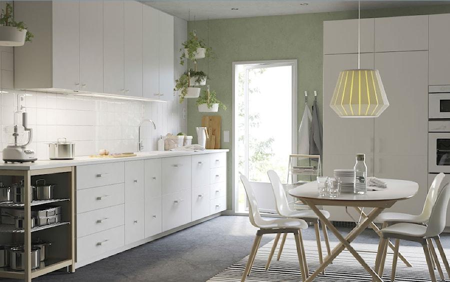 Kuchnia Ikea średnia Otwarta Biała Zielona Kuchnia