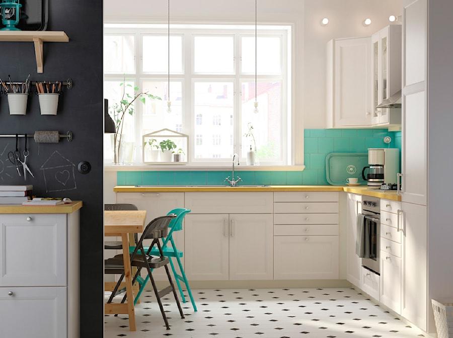 Kuchnia Ikea Duża Otwarta Biała Niebieska Kuchnia W