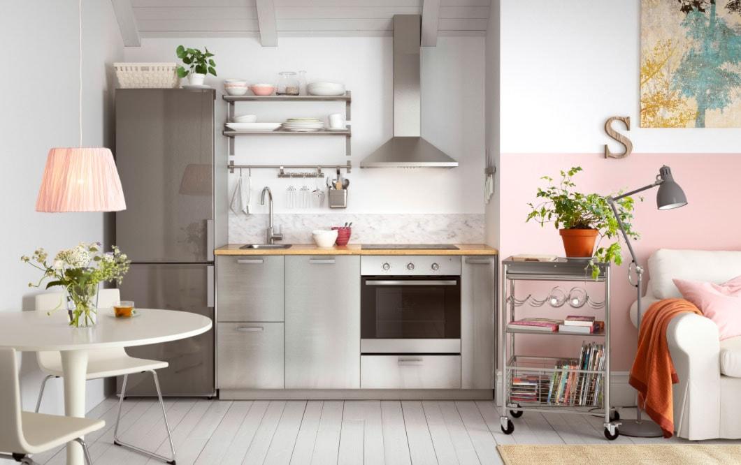 Kuchnia IKEA - Mała otwarta kuchnia jednorzędowa w aneksie - zdjęcie od IKEA - Homebook
