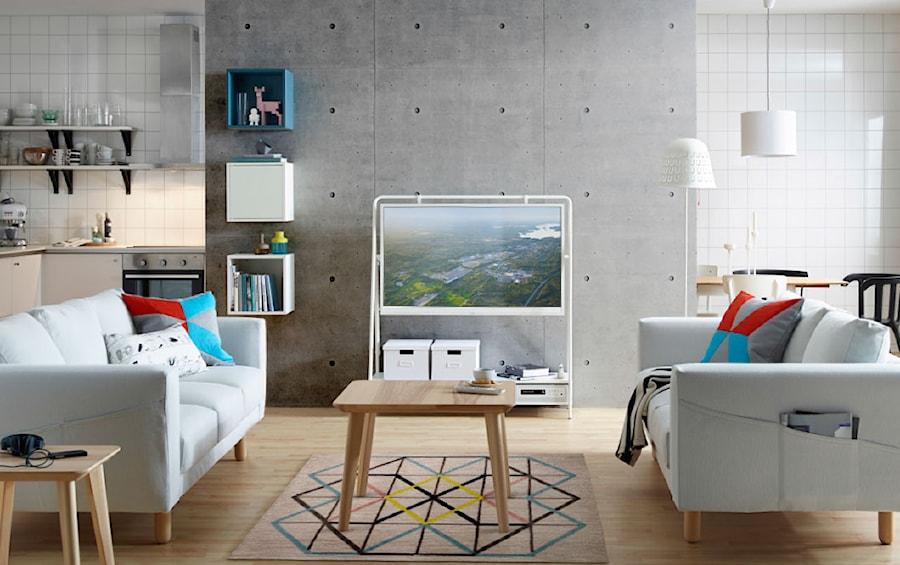 Pok 243 J Dzienny Ikea Mały Szary Biały Salon Z Kuchnią Z