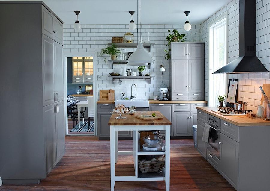 kuchnia ikea du a otwarta bia a kuchnia w kszta cie litery u z wysp styl vintage zdj cie. Black Bedroom Furniture Sets. Home Design Ideas
