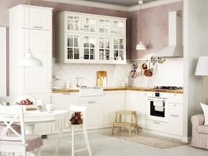 Kuchnia na wymiar - Średnia otwarta biała różowa kuchnia w kształcie litery l w aneksie, styl skandynawski - zdjęcie od IKEA