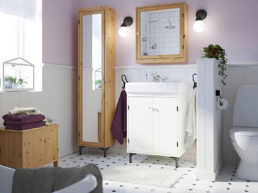 łazienka Ikea średnia Beżowa Różowa łazienka W Domu