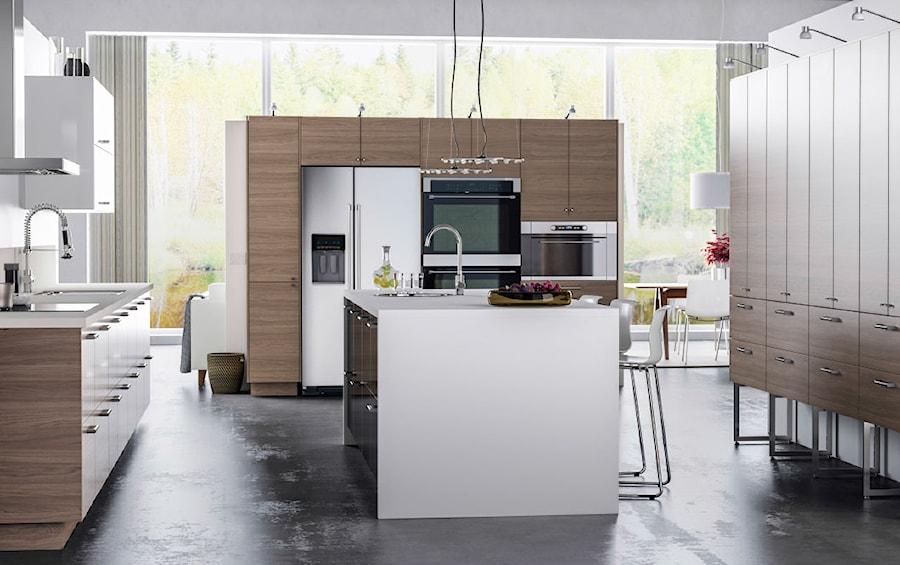 Kuchnia Ikea Duża Otwarta Szara Kuchnia W Kształcie Litery