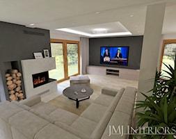Dom w Skowarczu - Duży biały czarny salon, styl nowoczesny - zdjęcie od JMJ Interiors - Homebook