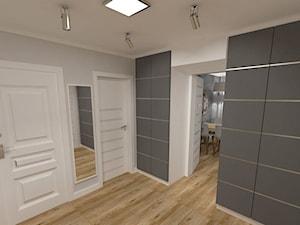 mieszkanie w bloku z wielkiej płyty - Średni biały szary hol / przedpokój, styl nowoczesny - zdjęcie od JMJ Interiors