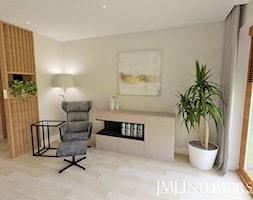 Dom w Skowarczu - Średni biały beżowy salon, styl nowoczesny - zdjęcie od JMJ Interiors - Homebook