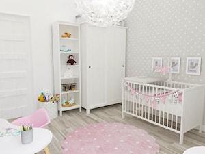 Pokój Julki - Średni biały szary pokój dziecka dla chłopca dla dziewczynki dla niemowlaka dla malucha, styl skandynawski - zdjęcie od JMJ Interiors