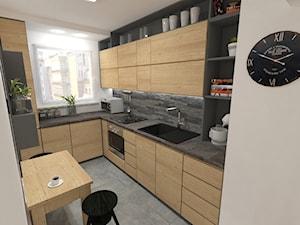 mieszkanie w bloku z wielkiej płyty - Średnia zamknięta wąska biała szara kuchnia w kształcie litery l, styl skandynawski - zdjęcie od JMJ Interiors