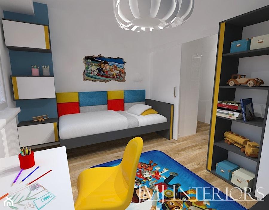mieszkanie w Łodzi - Mały biały pokój dziecka dla chłopca dla dziewczynki dla ucznia dla malucha, styl nowoczesny - zdjęcie od JMJ Interiors