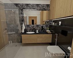 Dom w Skowarczu - Średnia biała czarna łazienka bez okna, styl nowoczesny - zdjęcie od JMJ Interiors - Homebook