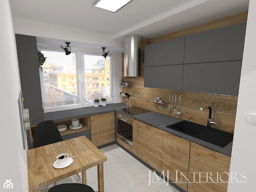mieszkanie w Łodzi - Średnia zamknięta biała szara kuchnia w kształcie litery l w aneksie z oknem, ... - zdjęcie od JMJ Interiors