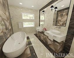 Marmur w łazience - Szwecja - Średnia łazienka w bloku w domu jednorodzinnym z oknem, styl nowoczesny - zdjęcie od JMJ Interiors