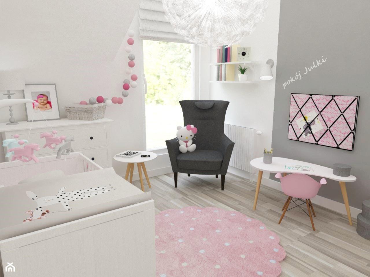 Pokój Julki - Średni biały szary pokój dziecka dla dziewczynki dla niemowlaka, styl skandynawski - zdjęcie od JMJ Interiors - Homebook