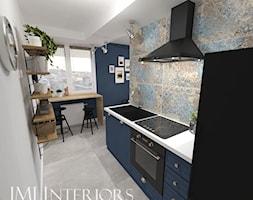 Sopocka kamienica w niebieskiej odsłonie - Mała otwarta wąska szara niebieska kuchnia jednorzędowa z oknem - zdjęcie od JMJ Interiors