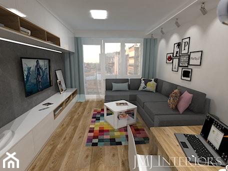 mieszkanie w Łodzi - Średni szary biały salon, styl nowoczesny - zdjęcie od JMJ Interiors