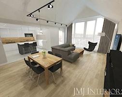 Apartament na Chmielnej, Gdańsk - Duża biała kuchnia w kształcie litery l w aneksie z wyspą z oknem, styl nowoczesny - zdjęcie od JMJ Interiors
