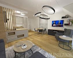 Minimalistyczne mieszkanie na Oruni Górnej Gdańsk - Duży szary biały salon z kuchnią z jadalnią, styl minimalistyczny - zdjęcie od JMJ Interiors - Homebook