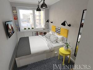 mieszkanie w Łodzi - Mała szara sypialnia małżeńska, styl skandynawski - zdjęcie od JMJ Interiors
