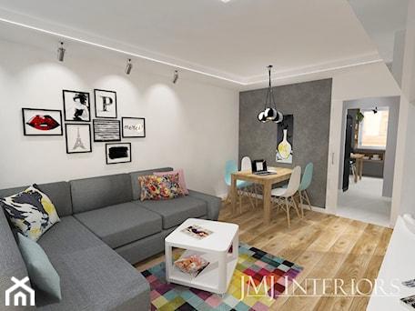 Aranżacje wnętrz - Salon: mieszkanie w Łodzi - Mały szary biały salon z jadalnią, styl nowoczesny - JMJ Interiors. Przeglądaj, dodawaj i zapisuj najlepsze zdjęcia, pomysły i inspiracje designerskie. W bazie mamy już prawie milion fotografii!