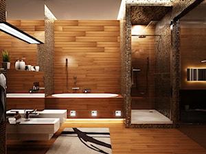 Średnia brązowa łazienka w bloku w domu jednorodzinnym bez okna, styl nowoczesny - zdjęcie od LEDin