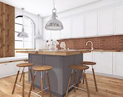 #11 - Średnia zamknięta biała kuchnia w kształcie litery l z wyspą z oknem, styl skandynawski - zdjęcie od Meble Wiśniewski MEBLO-MARK