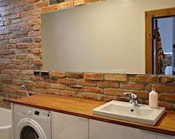 1 - Mała beżowa łazienka w bloku w domu jednorodzinnym bez okna, styl industrialny - zdjęcie od Meble Wiśniewski MEBLO-MARK